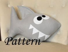 Shark Plush Pattern PDF Tutorial and Printable Templates -Chomp the Shark Pillow…