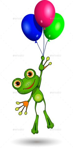 Buy Frog on Balloons by brux on GraphicRiver. Frog on Balloons Illustration of a cartoon frog on balloons vector EPS AI 10 file, JPEG 2 layer fully e. Frosch Illustration, Balloon Illustration, Funny Frogs, Cute Frogs, Frog Drawing, Frog Pictures, Frog Art, Frog And Toad, Zentangle