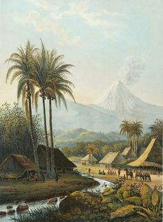 Antique Print of the Smeroe volcano, mountains of Ijang, East Java ( made after Abraham Salm 1872 ). By Johan Grieve Jr. Landscape Art, Landscape Paintings, Bali Painting, Jungle Art, Indonesian Art, Dutch East Indies, Art Vintage, Dutch Painters, Old Paintings