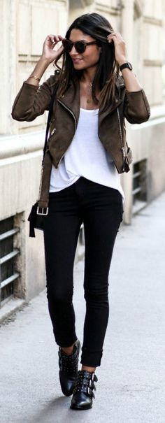 Black jeans + Federica L + contrasting + black tone + plain white tee + neutral brown suede jacket. Jeans: Cheap Monday, Jacket: Missguided.