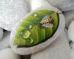 Bee And Water Drop On A Green Leaf Hand Painted on Natural Sea Stone! Is Painted… Bee And Water Drop On A Green Leaf Hand Painted on Natural Sea Stone! Is Painted With High Acrylic Paints And Finished With Gloss Varnish Pebble Painting, Tole Painting, Pebble Art, Painted Rock Animals, Hand Painted Rocks, Painted Stones, Painted Pebbles, Stone Crafts, Rock Crafts
