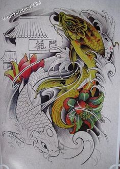 鲤鱼纹身 Carp Tattoo, Koi Fish Tattoo, Fish Tattoos, Japanese Tattoo Art, Japanese Art, Koy Fish, Koi Tattoo Design, Feng Shui Animals, Arm Work