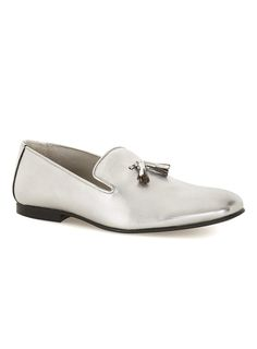 Silver Metallic Leather Loafers