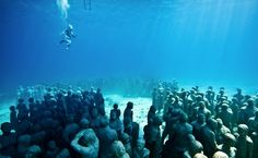 Underwater Sculpture by Jason deCaires Taylor:  Sculptured Artificial reef, snorkel, diving, and boat tours.