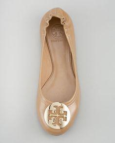 9fbcc25e710 Tory Burch Reva Tumbled Patent Ballerina Flat
