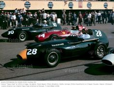 The Italian Grand Prix; Monza, September 7, 1958. The flag has just dropped and the field surges forward, Tony Brooks and Stewart Lewis-Evans in the Vanwalls with Mike Hawthorn?s Ferrari 246/F1 between them.The nose ofStirling Moss? Vanwall is just visible. Brooks won with Hawthorn second. (Photo by Klemantaski Collection/Getty Images)