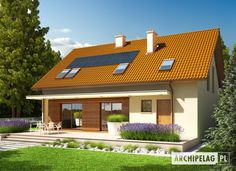 Projekt domu (wersja B) economic - koszt budowy - EXTRADOM Home Fashion, Exterior Design, House Plans, Pergola, Outdoor Structures, House Design, How To Plan, Mansions, House Styles