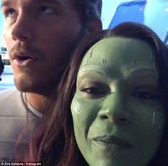 "Chris Pratt and Zoe Saldana on the set of ""Guardians Of The Galaxy"""