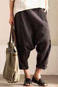Gray Art Causal Cotton Linen Trousers Women Clothes K2237A