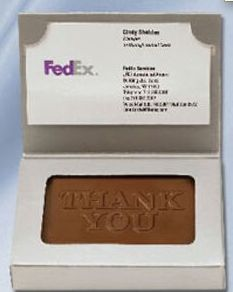 9e0fcbe7a24d Custom molded chocolate in business card box - perfect holiday handout! Promotional  Marketing Inc