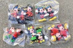 "VINTAGE APPLAUSE MICKEY & MINNIE MOUSE PVC 2.5"" CAKE TOPPER FIGURINES #Applause"