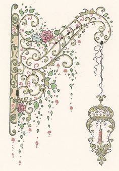 Beautiful hanging lamp doodle.  Looks like a scrolled ironwork brace, overgrown with vines, and lantern with candle - so you can find your way home.