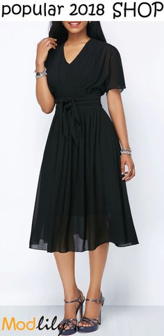 cfeadf3df1a V Neck Short Sleeve Tie Waist Chiffon Dress On Sale At Modlily. Fashion And  Cheap! Free Shipping! Shop the style!