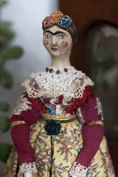Frida Kahlo inspired mini art doll custom made by Pantovola