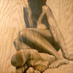 Drawing on wood, Michelle Ferrera