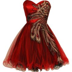 PacificPlex Metallic Peacock Embroidered Holiday Party Prom Dress... ($150) ❤ liked on Polyvore featuring dresses, vestidos, red, short dresses, red prom dresses, short formal dresses, plus size formal dresses, plus size prom dresses and women plus size dresses