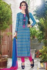 Pink Blue Printed Casual Suit  #monsoondress, #rainydress, #salwarsuits, #salwarkameez, #striaghtdress, #churidarsuits, #cottondress, #partyweardress, #partywearsalwarsuits, #embroiderydress, #embroiderysalwarsuits, #clothes, #fashion, #women #shopping, #pinkdress,  #bluesalwarsuits  http://www.pavitraa.in/salwar-suit.html  Call Us : +91-7698234040 (WhatsApp) Email _Id : info@pavitraa.in