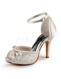 Zapatos de novia de satén de color marfil con lazo de estilo moderno - Milanoo.com
