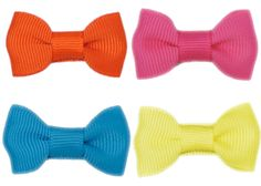 4 no-slip baby bows, in 4 spring colors. Amazing little no-slip hair clip, better than boutique quality. $15 from Bitty Bows Boutique.