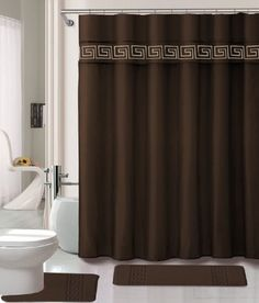 15 Piece Memory Foam Bath Rug Set Bathroom Rugs with Fabric Shower Curtain and Decorative Rings Coffee -- Check this awesome product by going to the link at the image. (This is an affiliate link) Luxury Shower Curtain, Bathroom Shower Curtain Sets, Bathroom Rug Sets, Fabric Shower Curtains, Bathroom Curtains, Master Bathroom, Green Bathrooms Designs, Bathroom Design Small, Modern Bathroom
