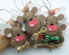 Set of 5 felt reindeers, Christmas decoration, Reindeers set of 5, Felt…