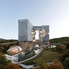 Gwachon Knowledge Information Town Industrial-based Industrial Site Arch Building, Office Building Architecture, Commercial Architecture, Building Facade, Futuristic Architecture, Facade Architecture, Building Design, Office Buildings, Residential Architecture