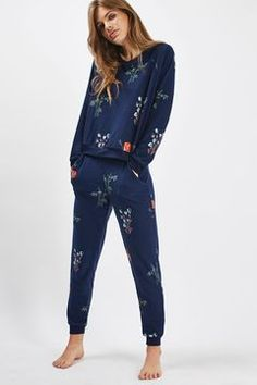 Topshop Poppy Print Loungewear Sweater and Jogger
