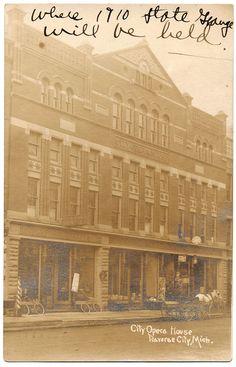 TRAVERSE CITY, MICH. City Opera House, Real Photo Postcard RPPC ca. 1910