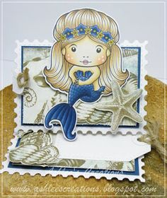 From our Design Team! Card by Ashlee McGregor featuring Sitting Mermaid Marci and these Dies - Postage Stamps Stitched Tags :-) Shop for our products here - shop.lalalandcrafts.com Coloring details and more Design Team inspiration here - http://lalalandcrafts.blogspot.ie/2016/05/inspirational-monday-easel-does-it.html