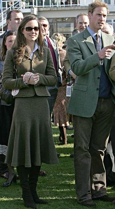 Country bumpkin: Kate gets her tweed on at the first day of the annual Cheltenham Race Festival in March 2007.