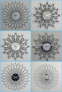 Sol de diseño de flores de hierro reloj de pared, de metal del reloj