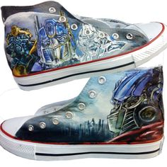 Transformers Sneakers Handcraft Painting Shoes High-top Painted ,High-top Painted Canvas Shoes