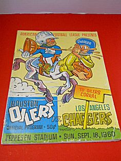 1960 Houston Oilers vs L.A. Chargers Football Program
