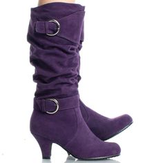 purple+boots+for+women | Purple-Suede Buckle Dress Slouch Womens High Heel Knee High Boots ...