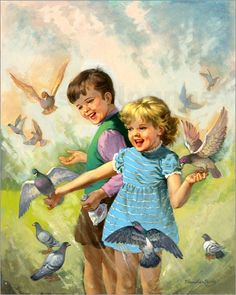 "Bild von van der Syde - ""Boy and girl with pigeons"""