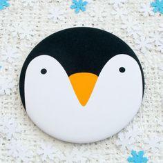 Penguin Pocket Mirror or Magnet. Stocking filler. by JoanneHawker