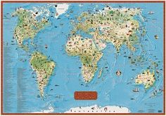 Children's world map from Maps.com. This map of world kids is colorful a shows tons of geographical features.