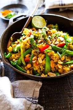 This fragrant, turmeric infused, Indian Fried Rice is full of healthy veggies and can be made in under 30 minutes. Indian Food Recipes, Whole Food Recipes, Dinner Recipes, Ethnic Recipes, Vegetarian Recipes, Indian Foods, Indian Snacks, Vegetarian Dinners, Vegetarian Cooking