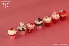 Tutorial - how to make miniature fimo Valentine's cupcakes :)