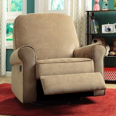 max brown fabric nursery swivel glider recliner chair