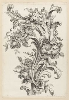 18th century French engraving Print, Floral and Acanthus Leaf Scroll Design, 1740 by artist Peirotte (aka Alexis Peyrotte) (inscribed at the bottom).