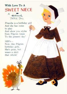 Priscilla paper doll card; Hallmark