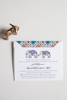 Such a cool concept of cultures... Elephant-Themed Wedding Invitation from Emma Jo Stationery. See more here: http://www.StyleMePretty.com/little-black-book-blog/2014/03/19/elephant-themed-wedding-invitation/ Photography: Anna Hardy on #SMP