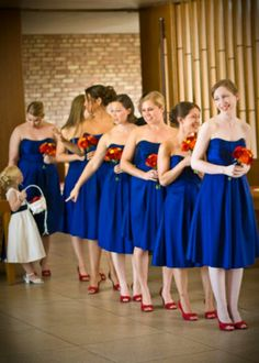 The color of the bridesmaids' dresses, but they are def not wearing red shoes. Blue Red Wedding, Yellow Wedding Flowers, Wedding Colors, Yellow Flowers, Red Bridesmaids, Red Bridesmaid Dresses, Wedding Dresses, Bridesmaid Saree, Grey Wedding Invitations