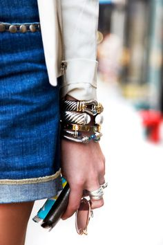 Street Chic .. Bracelets by David Yurman, Cartier, Ring by Prada, Belt by Vintage paul Stuart, Jeans, Haute Hippie, Jacket by Rag