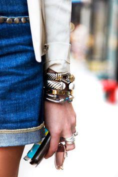 Street Chic .. Bracelets by David Yurman, Cartier, Ring by Prada, Belt by Vintage paul Stuart, Jeans, Haute Hippie, Jacket by Rag