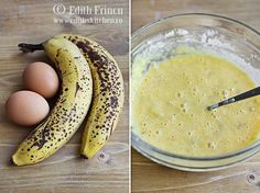 PANCAKES CU BANANE  Ne trebuie: 2 oua 1 si 1/2 banane bine coapte un varf de lingurita de praf de copt 1 lingura cu varf de faina (optional) un praf de sare 1/4 lingurita turmeric (optional, pentru culoare) sirop de artar – pentru servit (optional) - cantitati pentru cca 7 bucati de 9-10 cm diametru - Edith's Kitchen, Cantaloupe, Pancakes, Food And Drink, Cooking Recipes, Sweets, Diet, Meals, Fruit