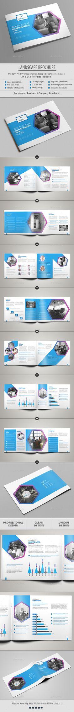 Landscape Brochure Template InDesign INDD - A4 Size & US Letter Size