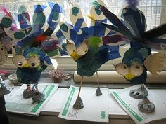 Color, collage, and much more: Paper Mache Peacocks (these were made by second graders, I think I would do with maybe 5th?)