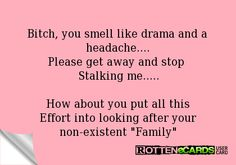 """Bitch, you smell like drama and a headache....Please get away and stop stalking me.....How about you put all this effort into looking after your non-existent """"family"""".  Hey, tell your ugly-stick-chewing baby mama is stalking my pinterest again. I keep telling her I just don't like her like that."""